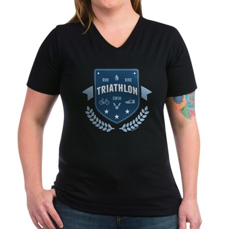 Triathlon Women's V-Neck Dark T-Shirt