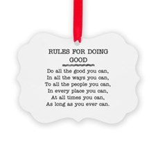 RULES FOR DOING GOOD Ornament