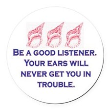 GOOD LISTENER Round Car Magnet