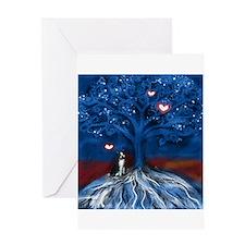 Boston Terrier love night glowing hearts tree Gree