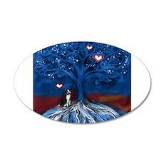 Boston Terrier love night glowing hearts tree Wall