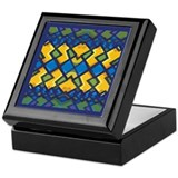 Abstract Blue & Gold (ab01) Keepsake Box
