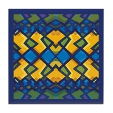 Abstract Blue & Gold (ab01) Tile Coaster