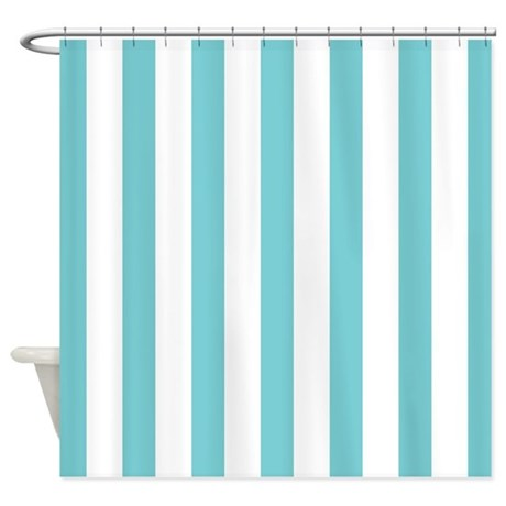 Turquoise And White Striped Shower Curtain By Mainstreethomewares