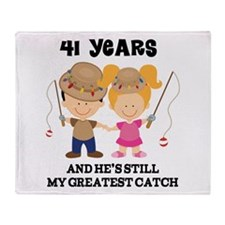 41st Anniversary Hes Greatest Catch Throw Blanket