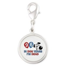 Funny 96 year old designs Silver Round Charm