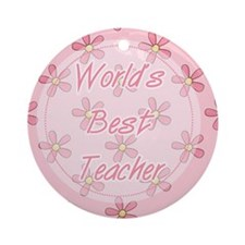 Pink World's Best Teacher Ornament (Round)