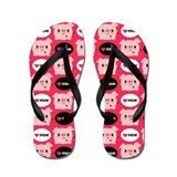 Kawaii I Love Pigs Flip Flops