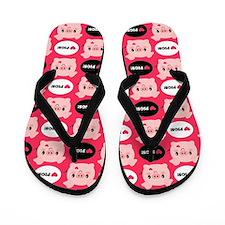 Kawaii I Love Pigs Flip Flops