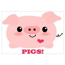 Kawaii I Love Pigs Wall Art