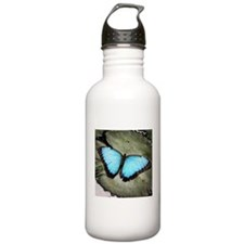 Blue Butterfly on Lily Pad Water Bottle