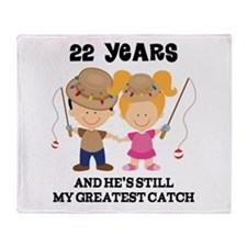 22nd Anniversary Hes Greatest Catch Throw Blanket