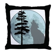 wolfmoongray.png Throw Pillow
