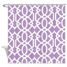 African Violet & White Trellis Shower Curtain