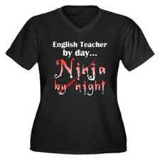 English Teacher Ninja Women's Plus Size V-Neck Dar