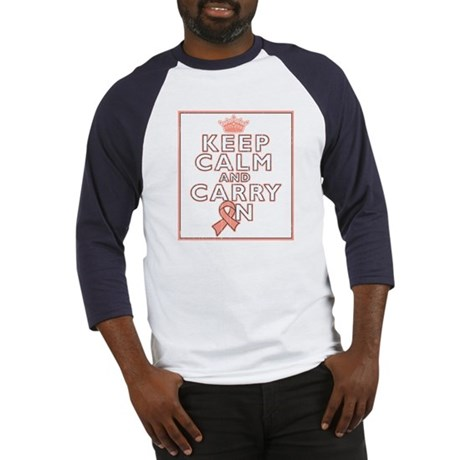 Uterine Cancer Keep Calm Carry On Baseball Jersey