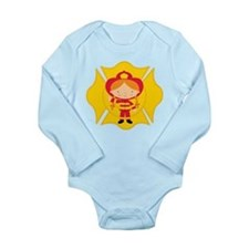 Firefighter Girl Long Sleeve Infant Bodysuit