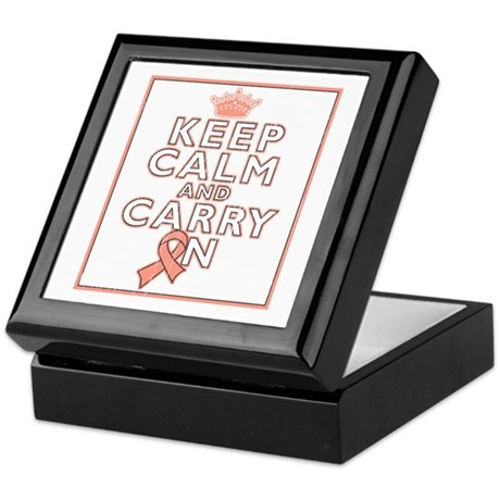 Uterine Cancer Keep Calm and Carry ON Keepsake Box