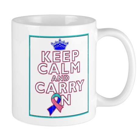 Thyroid Cancer Keep Calm Carry On Mug