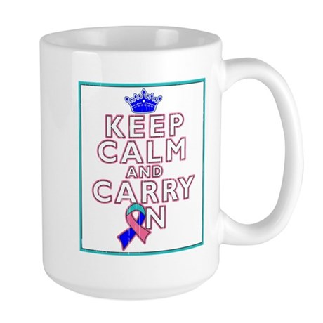 Thyroid Cancer Keep Calm Carry On Large Mug