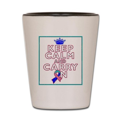 Thyroid Cancer Keep Calm Carry On Shot Glass