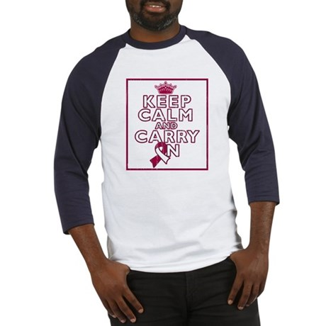 Throat Cancer Keep Calm Carry On Baseball Jersey