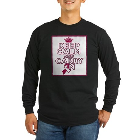 Throat Cancer Keep Calm Carry On Long Sleeve Dark