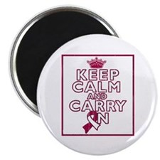 """Throat Cancer Keep Calm Carry On 2.25"""" Magnet (100"""