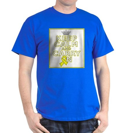 Testicular Cancer Keep Calm Carry On Dark T-Shirt