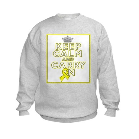 Testicular Cancer Keep Calm Carry On Kids Sweatshi