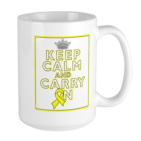 Testicular Cancer Keep Calm Carry On Large Mug