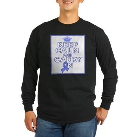 Stomach Cancer Keep Calm Carry On Long Sleeve Dark