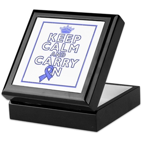 Stomach Cancer Keep Calm Carry On Keepsake Box