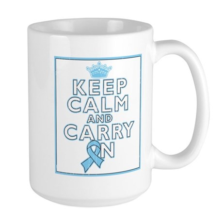 Prostate Cancer Keep Calm Carry On Large Mug