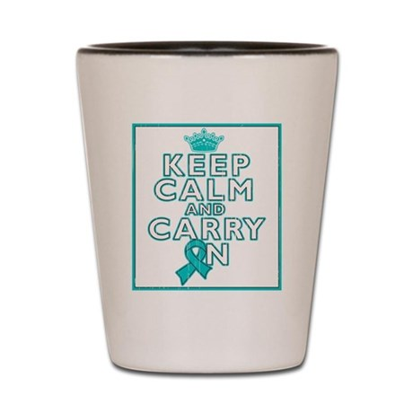 Peritoneal Cancer Keep Calm Carry On Shot Glass