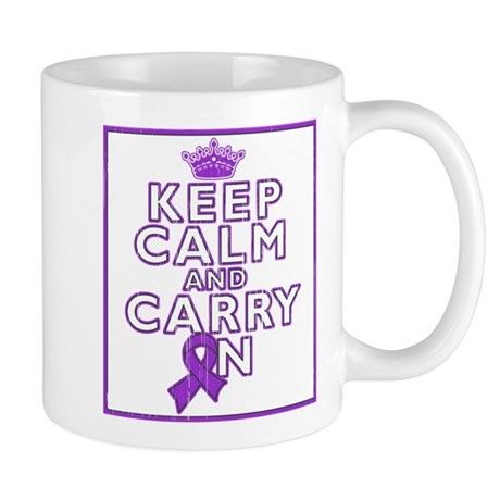 Pancreatic Cancer Keep Calm Carry On Mug