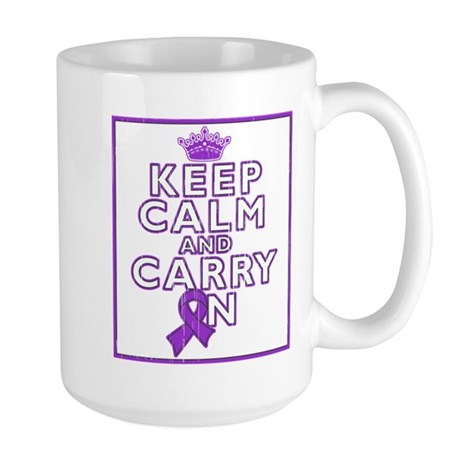 Pancreatic Cancer Keep Calm Carry On Large Mug