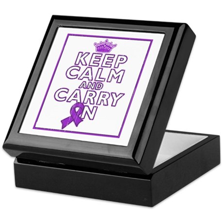 Pancreatic Cancer Keep Calm Carry On Keepsake Box