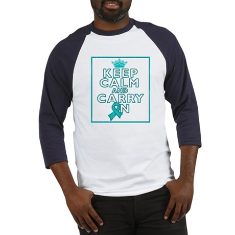 Ovarian Cancer Keep Calm Carry On Baseball Jersey