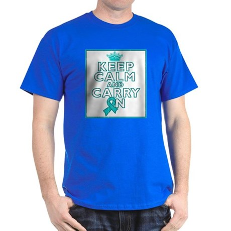 Ovarian Cancer Keep Calm Carry On Dark T-Shirt