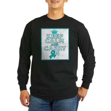 Ovarian Cancer Keep Calm Carry On Long Sleeve Dark