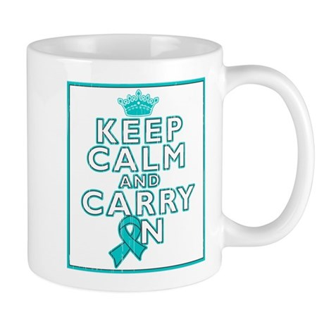 Ovarian Cancer Keep Calm Carry On Mug