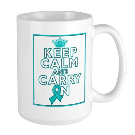 Ovarian Cancer Keep Calm Carry On Large Mug