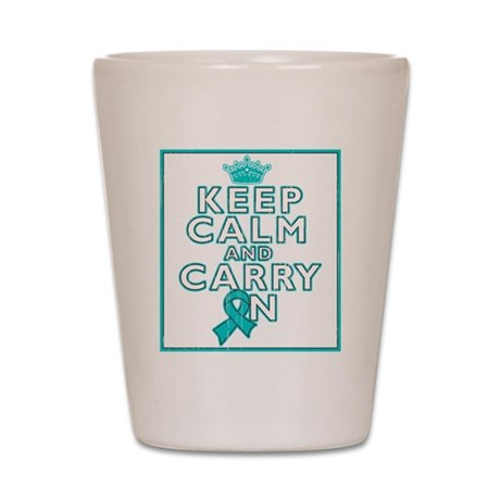 Ovarian Cancer Keep Calm Carry On Shot Glass