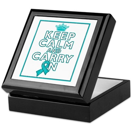 Ovarian Cancer Keep Calm Carry On Keepsake Box