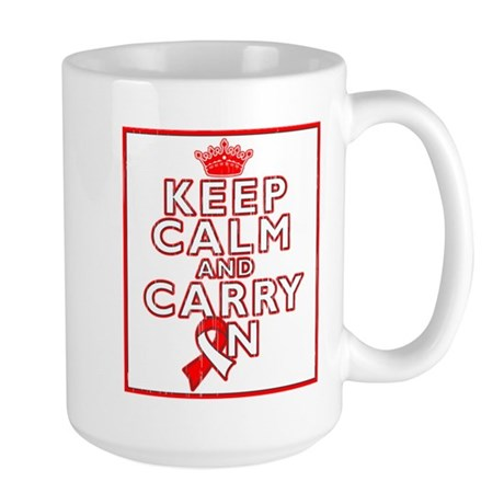 Oral Cancer Keep Calm Carry On Large Mug