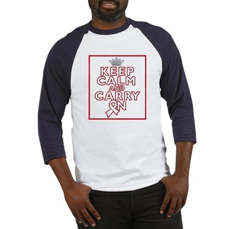 Mesothelioma Keep Calm Carry On Baseball Jersey
