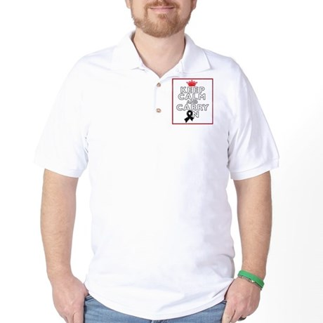 Melanoma Keep Calm Carry On Golf Shirt