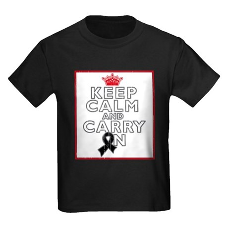 Melanoma Keep Calm Carry On Kids Dark T-Shirt