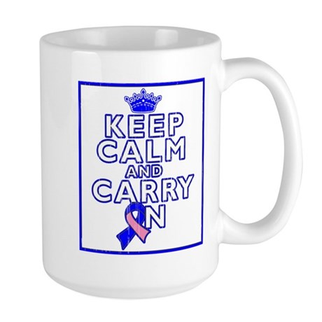 Male Breast Cancer Keep Calm Large Mug